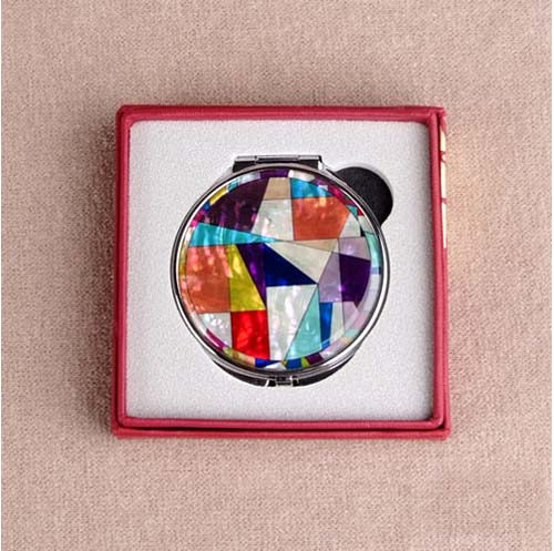 Mother of pearl make up compact mirror patchworked for Mirror 18 patch