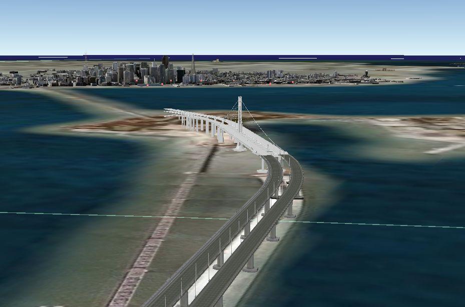 구글어스-샌프란시스코 현수교 모델