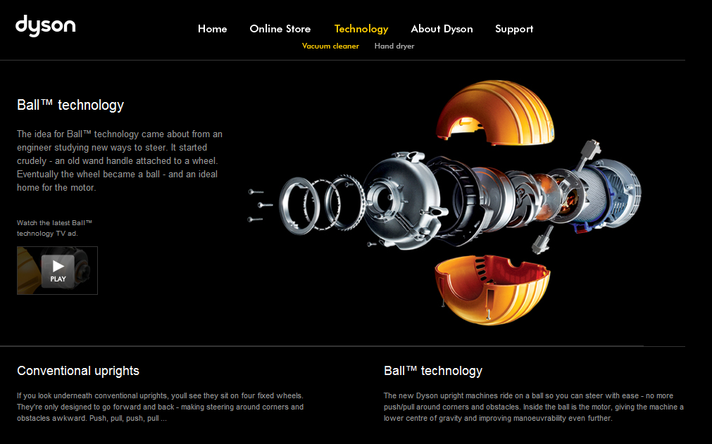 Dyson Website on Technology