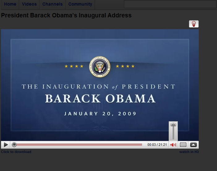 barak obama youtube page
