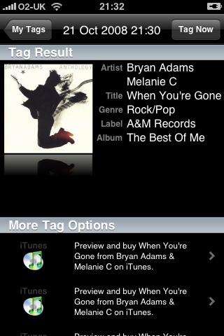 iPhone Apps - Shazam: Music Recognition Result